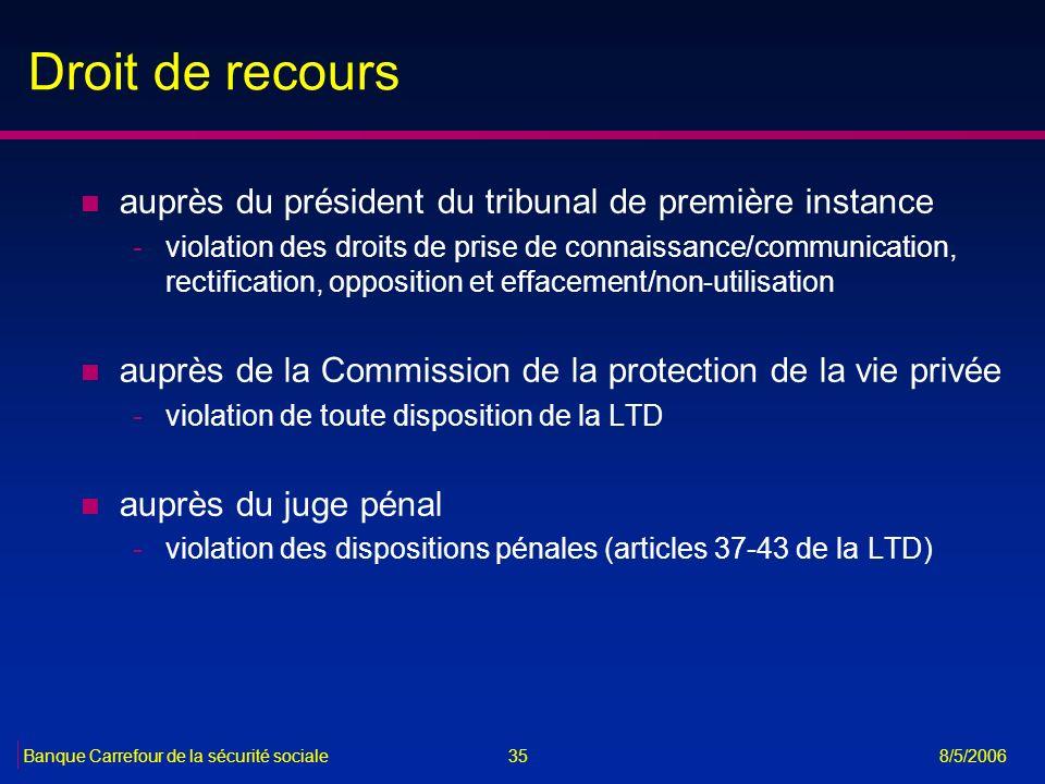 35Banque Carrefour de la sécurité sociale 8/5/2006 Droit de recours n auprès du président du tribunal de première instance -violation des droits de pr