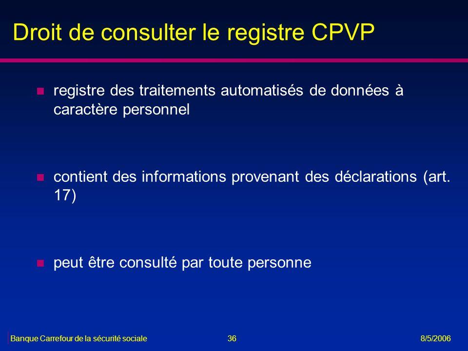 36Banque Carrefour de la sécurité sociale 8/5/2006 Droit de consulter le registre CPVP n registre des traitements automatisés de données à caractère p