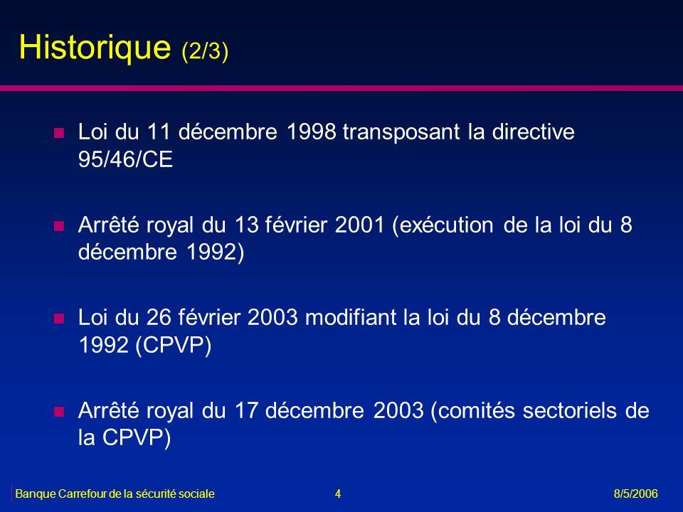 4Banque Carrefour de la sécurité sociale 8/5/2006 Historique (2/3) n Loi du 11 décembre 1998 transposant la directive 95/46/CE n Arrêté royal du 13 fé