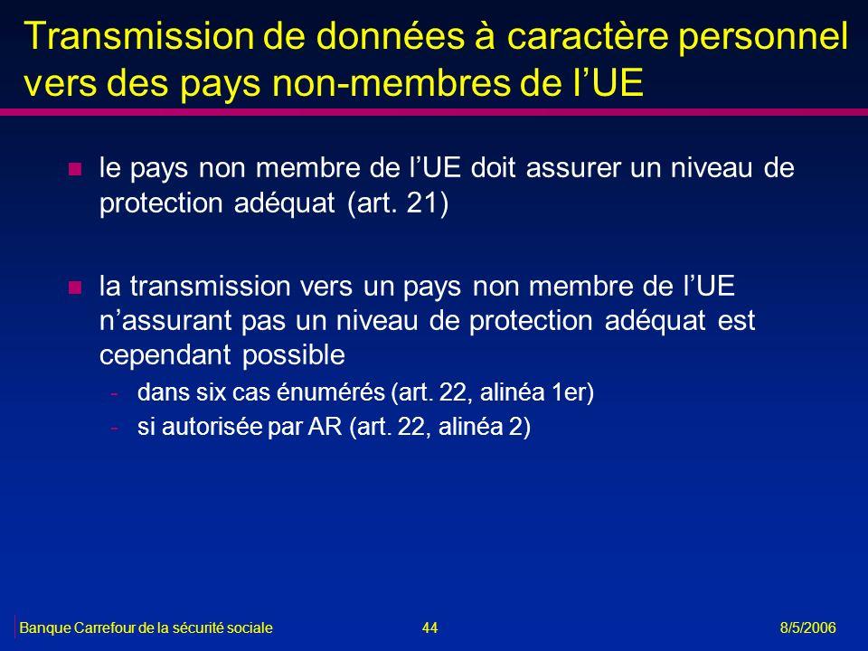 44Banque Carrefour de la sécurité sociale 8/5/2006 Transmission de données à caractère personnel vers des pays non-membres de lUE n le pays non membre