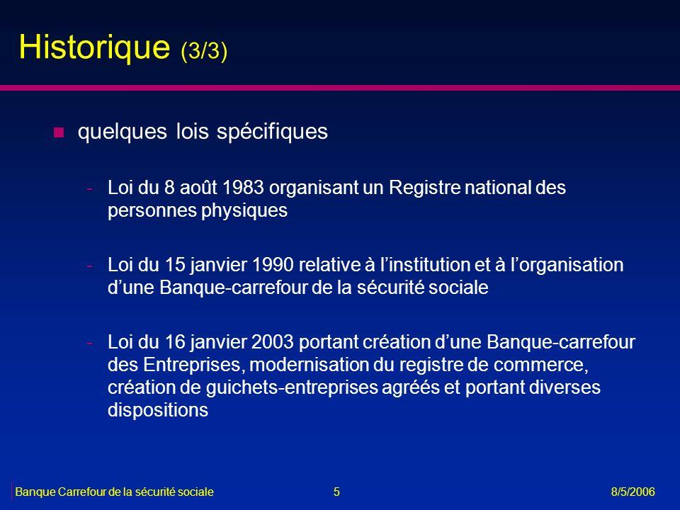 5Banque Carrefour de la sécurité sociale 8/5/2006 Historique (3/3) n quelques lois spécifiques -Loi du 8 août 1983 organisant un Registre national des
