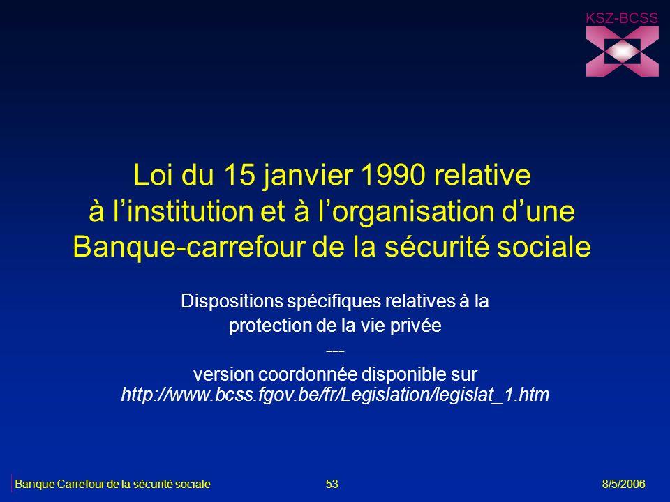Loi du 15 janvier 1990 relative à linstitution et à lorganisation dune Banque-carrefour de la sécurité sociale Dispositions spécifiques relatives à la