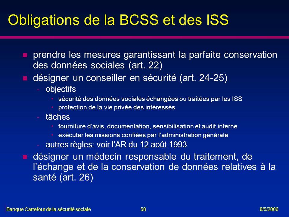 58Banque Carrefour de la sécurité sociale 8/5/2006 Obligations de la BCSS et des ISS n prendre les mesures garantissant la parfaite conservation des d