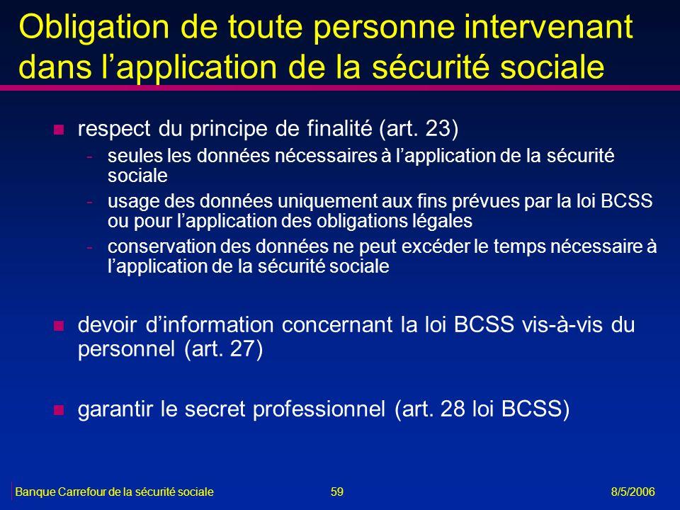 59Banque Carrefour de la sécurité sociale 8/5/2006 Obligation de toute personne intervenant dans lapplication de la sécurité sociale n respect du prin