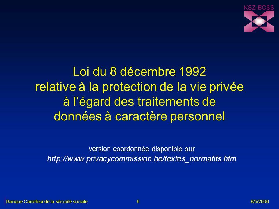 Loi du 8 décembre 1992 relative à la protection de la vie privée à légard des traitements de données à caractère personnel version coordonnée disponib