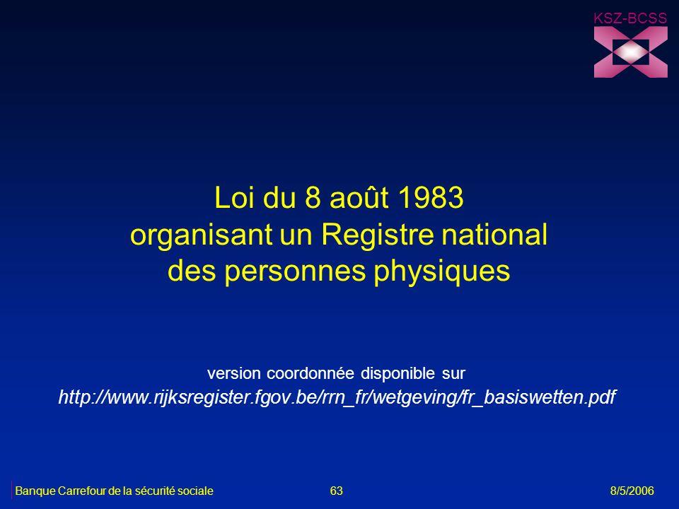 Loi du 8 août 1983 organisant un Registre national des personnes physiques version coordonnée disponible sur http://www.rijksregister.fgov.be/rrn_fr/w