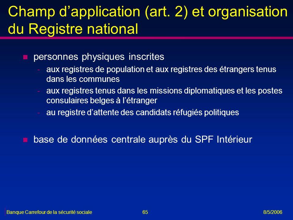65Banque Carrefour de la sécurité sociale 8/5/2006 Champ dapplication (art. 2) et organisation du Registre national n personnes physiques inscrites -a