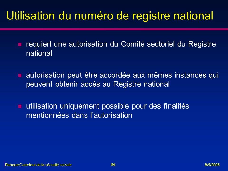 69Banque Carrefour de la sécurité sociale 8/5/2006 Utilisation du numéro de registre national n requiert une autorisation du Comité sectoriel du Regis