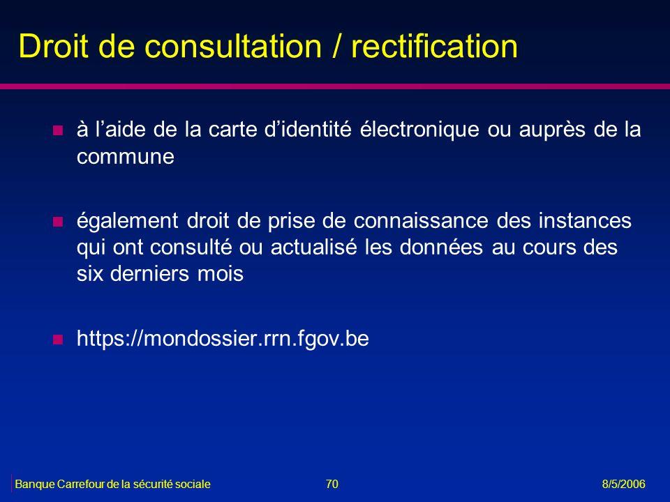 70Banque Carrefour de la sécurité sociale 8/5/2006 Droit de consultation / rectification n à laide de la carte didentité électronique ou auprès de la