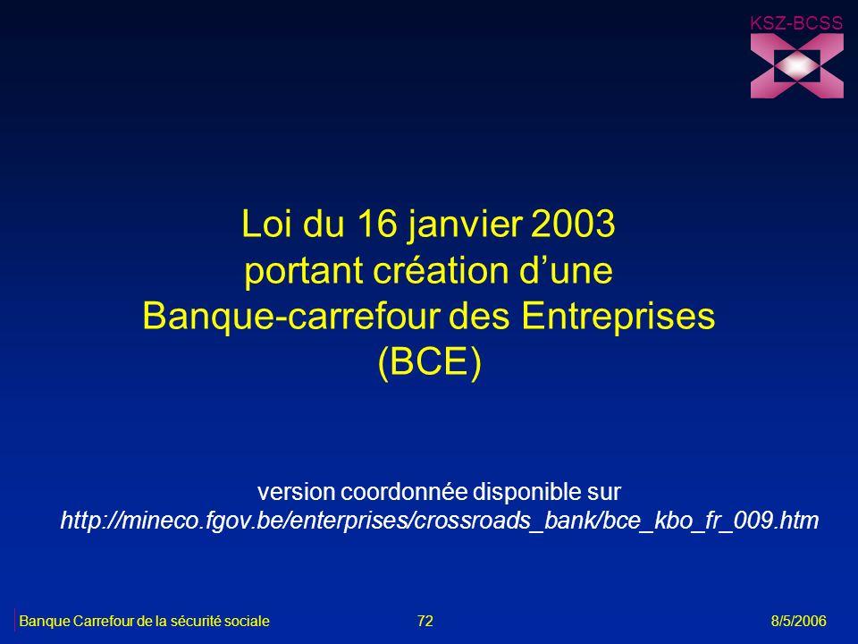Loi du 16 janvier 2003 portant création dune Banque-carrefour des Entreprises (BCE) version coordonnée disponible sur http://mineco.fgov.be/enterprise