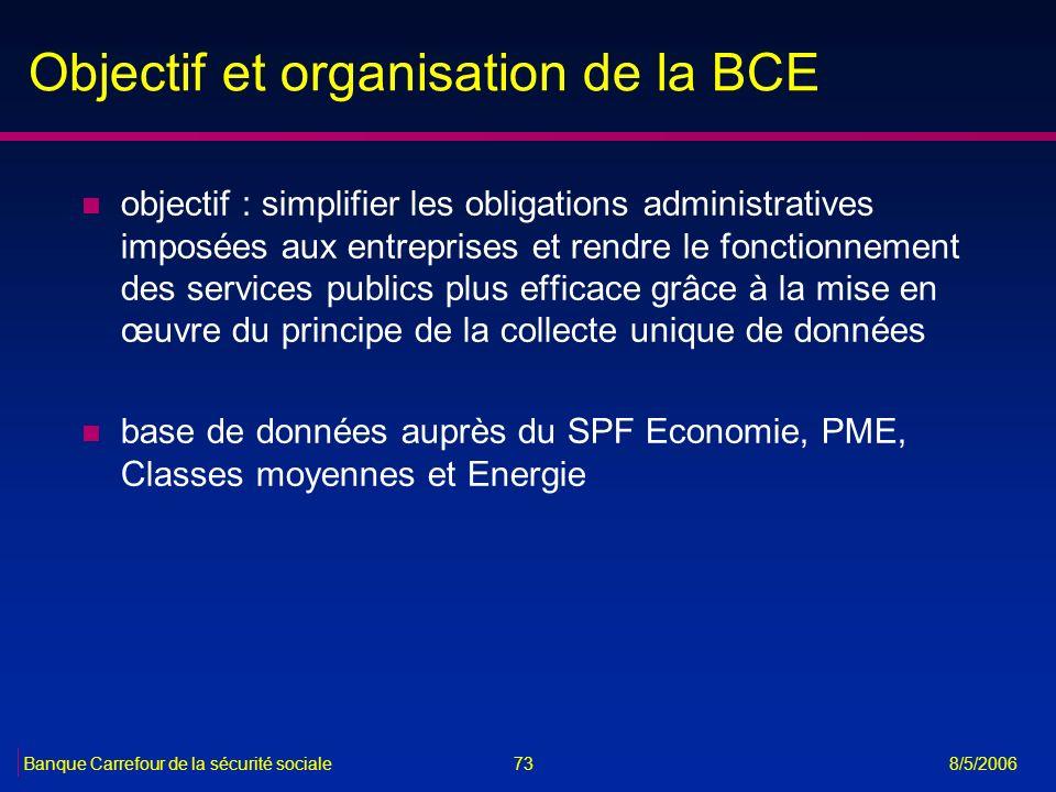 73Banque Carrefour de la sécurité sociale 8/5/2006 Objectif et organisation de la BCE n objectif : simplifier les obligations administratives imposées