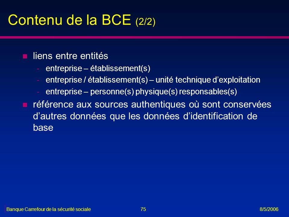 75Banque Carrefour de la sécurité sociale 8/5/2006 Contenu de la BCE (2/2) n liens entre entités -entreprise – établissement(s) -entreprise / établiss