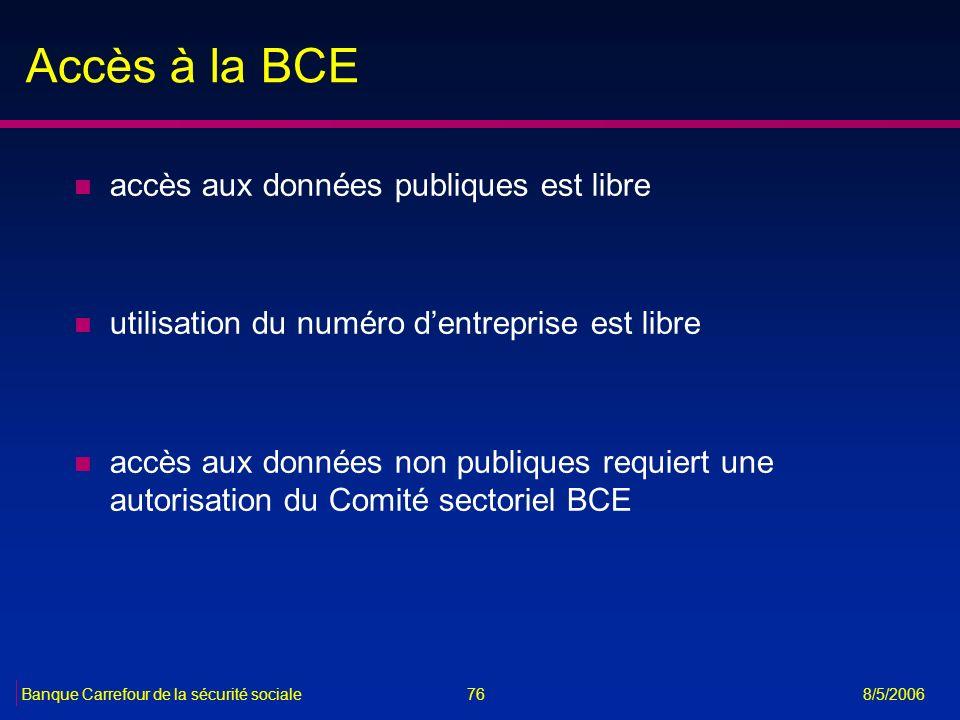 76Banque Carrefour de la sécurité sociale 8/5/2006 Accès à la BCE n accès aux données publiques est libre n utilisation du numéro dentreprise est libr