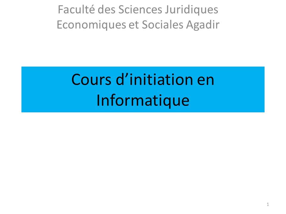 Cours dinitiation en Informatique Faculté des Sciences Juridiques Economiques et Sociales Agadir 1