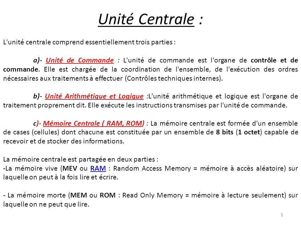 L'unité centrale comprend essentiellement trois parties : a)- Unité de Commande : L'unité de commande est l'organe de contrôle et de commande. Elle es