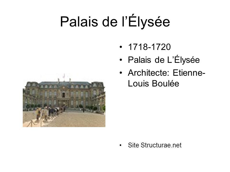 Palais de lÉlysée 1718-1720 Palais de LÉlysée Architecte: Etienne- Louis Boulée Site Structurae.net