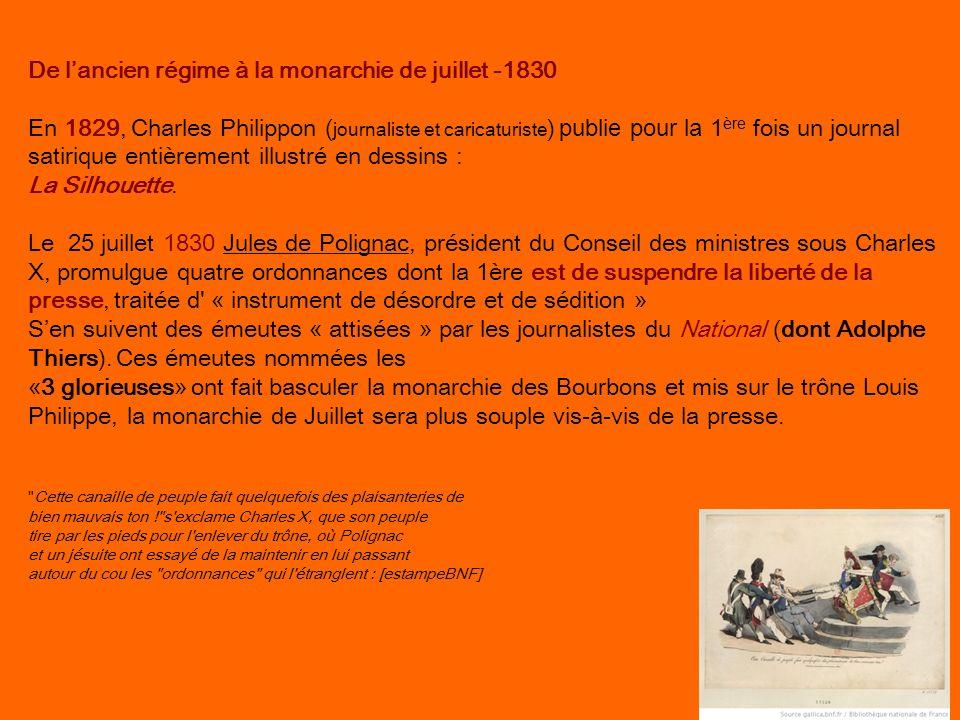 De lancien régime à la monarchie de juillet -1830 En 1829, Charles Philippon ( journaliste et caricaturiste ) publie pour la 1 ère fois un journal sat