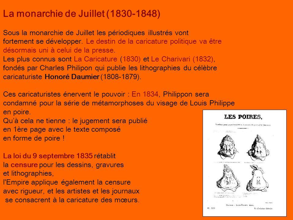La monarchie de Juillet (1830-1848) Sous la monarchie de Juillet les périodiques illustrés vont fortement se développer. Le destin de la caricature po
