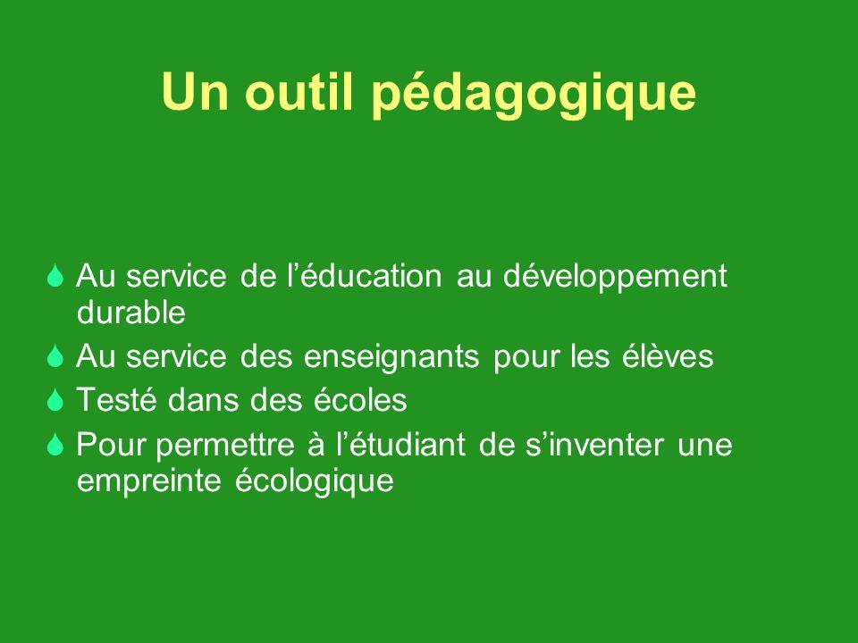 Un outil pédagogique Au service de léducation au développement durable Au service des enseignants pour les élèves Testé dans des écoles Pour permettre