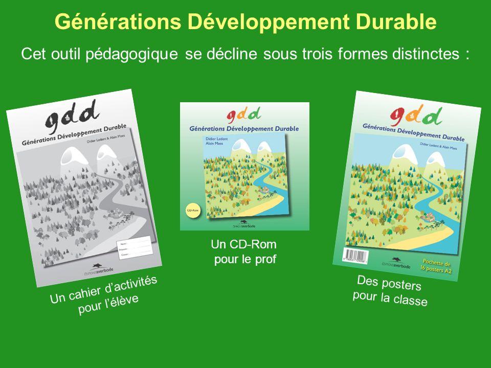 Générations Développement Durable Cet outil pédagogique se décline sous trois formes distinctes : Des posters pour la classe Un CD-Rom pour le prof Un