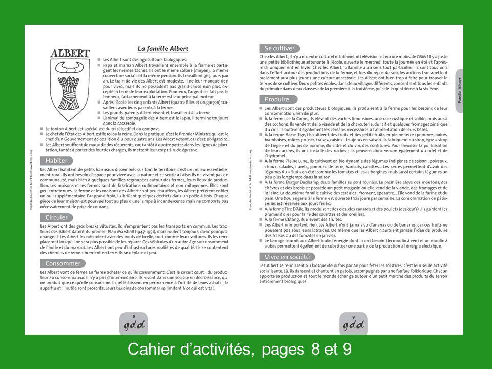 Cahier dactivités, pages 8 et 9