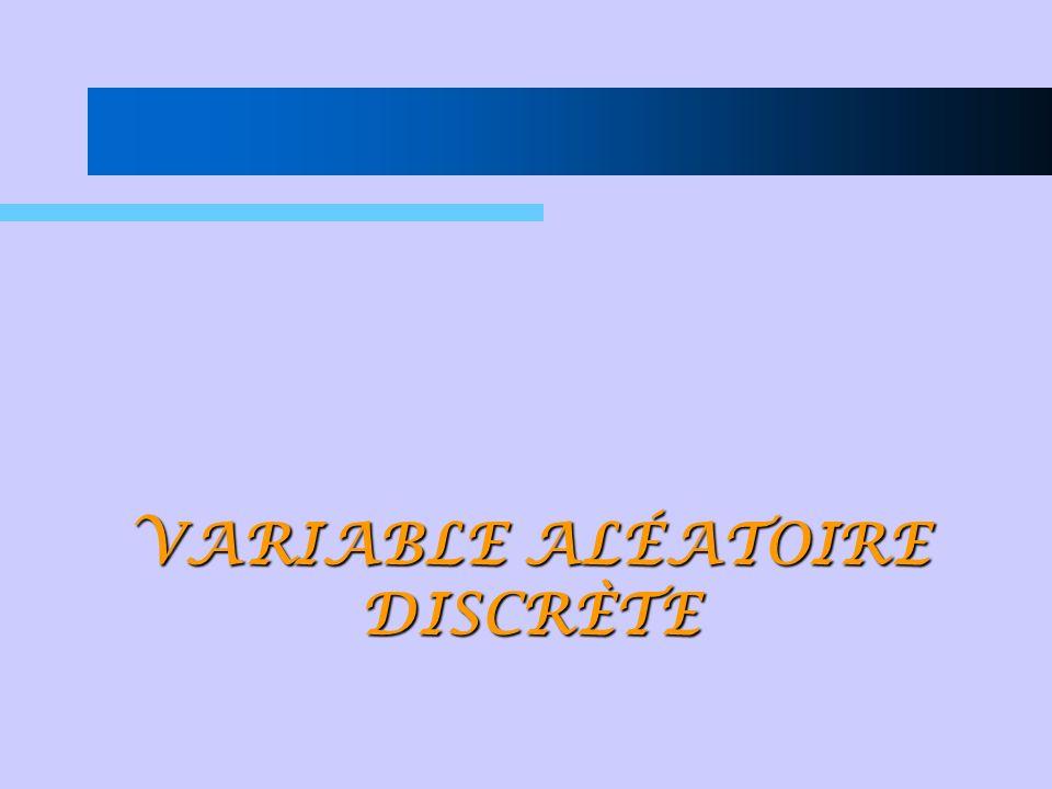 Fonction de probabilité ou fonction masse de probabilité dune variable aléatoire discrète (v.a.d.) La distibution de probabilité dune variable aléatoire décrit comment sont distribuées les probabilités des valeurs que peut prendre la v.a.