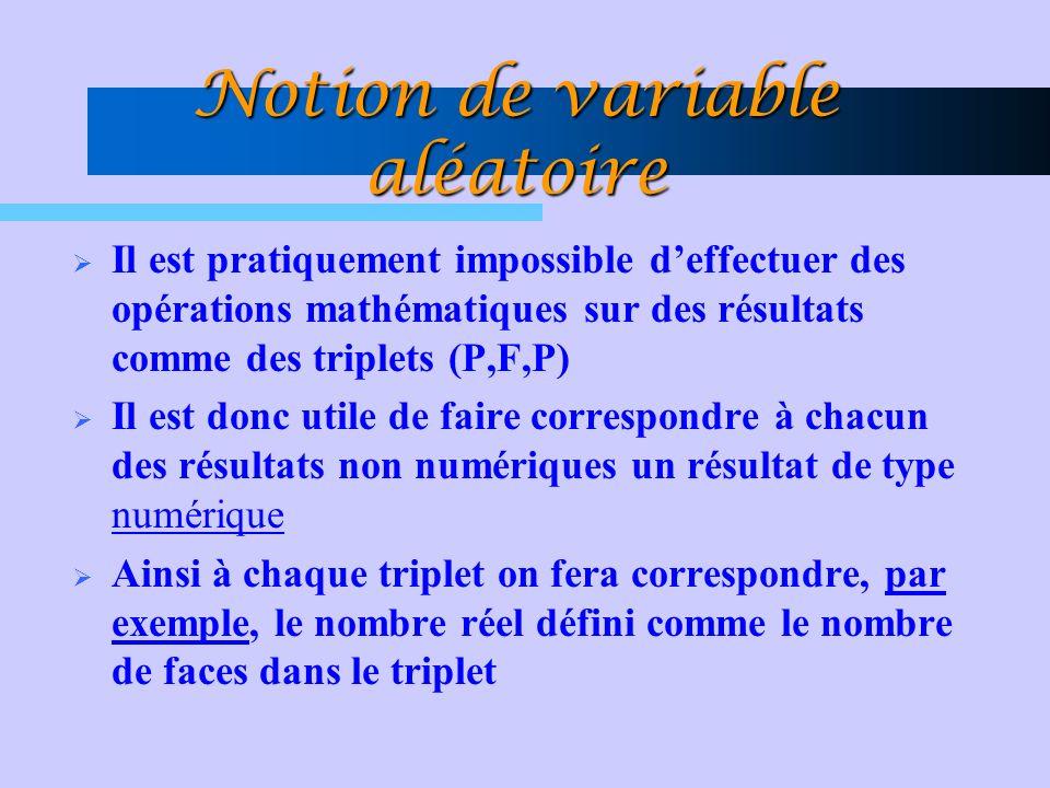 Propriétés de la fonction de répartition Pour une variable aléatoire discrète: –P(a < X b) = F(b) – F(a) –P(a < X < b) = F(b - ) – F(a) –P(a X < b) = F(b - ) – F(a - ) –P(a X b) = F(b) – F(a - ) où : F(x - ) = P(X <x)