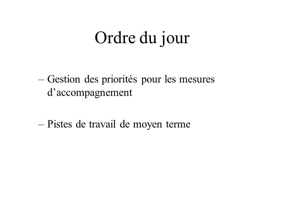 –Gestion des priorités pour les mesures daccompagnement –Pistes de travail de moyen terme Ordre du jour