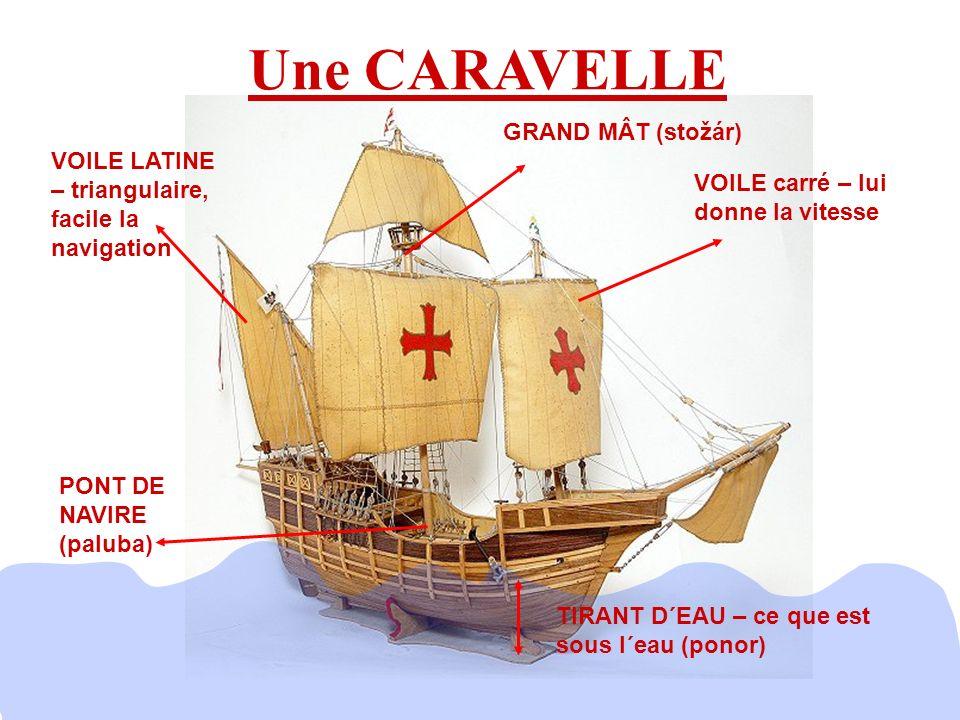 Une CARAVELLE TIRANT D´EAU – ce que est sous l´eau (ponor) VOILE carré – lui donne la vitesse VOILE LATINE – triangulaire, facile la navigation GRAND MÂT (stožár) PONT DE NAVIRE (paluba)