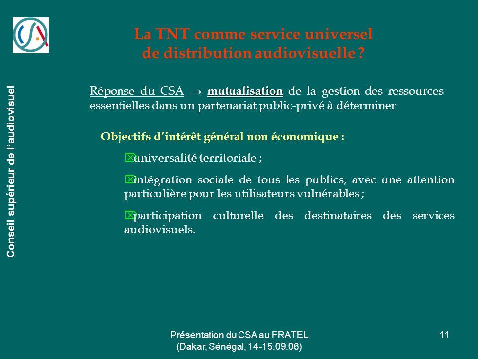Présentation du CSA au FRATEL (Dakar, Sénégal, 14-15.09.06) 11 La TNT comme service universel de distribution audiovisuelle ? Conseil supérieur de lau