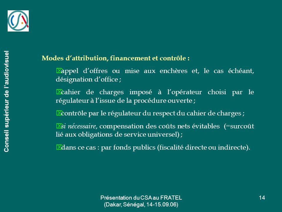 Présentation du CSA au FRATEL (Dakar, Sénégal, 14-15.09.06) 14 Conseil supérieur de laudiovisuel Modes dattribution, financement et contrôle : appel d