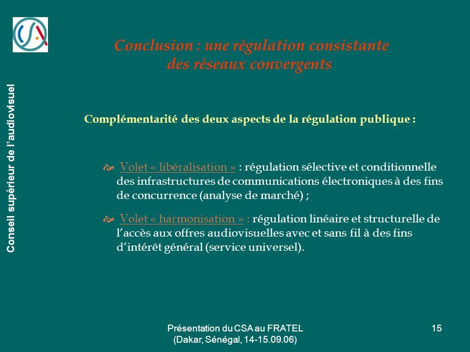 Présentation du CSA au FRATEL (Dakar, Sénégal, 14-15.09.06) 15 Conclusion : une régulation consistante des réseaux convergents Conseil supérieur de la