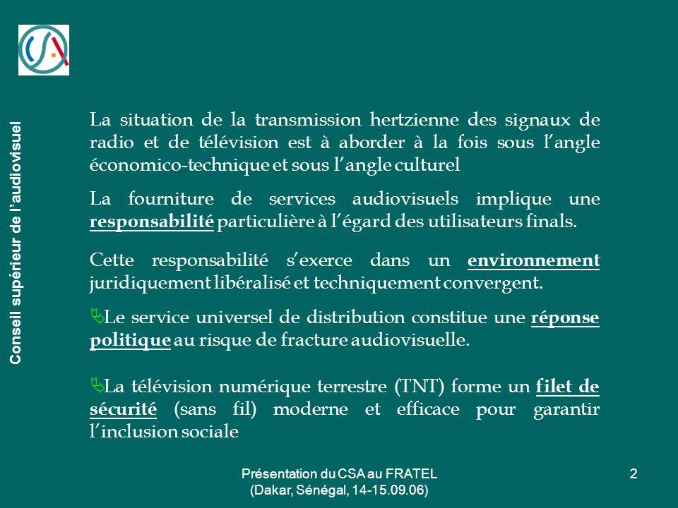 Présentation du CSA au FRATEL (Dakar, Sénégal, 14-15.09.06) 2 La situation de la transmission hertzienne des signaux de radio et de télévision est à a