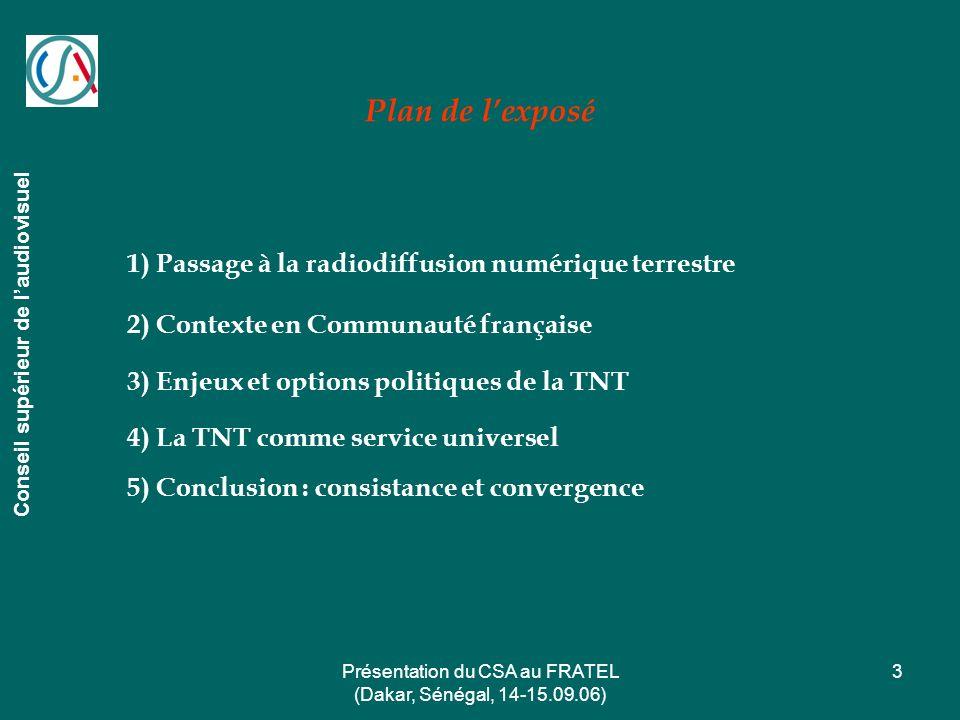 Présentation du CSA au FRATEL (Dakar, Sénégal, 14-15.09.06) 3 Plan de lexposé Conseil supérieur de laudiovisuel 1) Passage à la radiodiffusion numériq