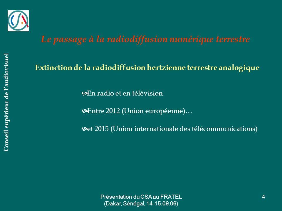 Présentation du CSA au FRATEL (Dakar, Sénégal, 14-15.09.06) 4 Le passage à la radiodiffusion numérique terrestre Conseil supérieur de laudiovisuel Ext