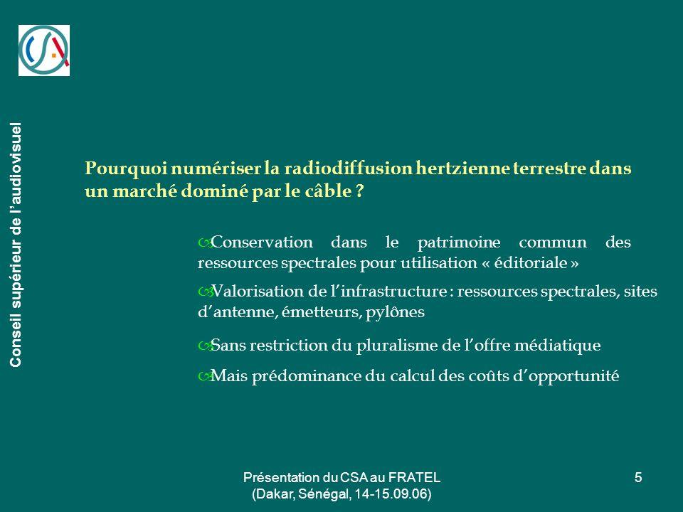 Présentation du CSA au FRATEL (Dakar, Sénégal, 14-15.09.06) 5 Conseil supérieur de laudiovisuel Pourquoi numériser la radiodiffusion hertzienne terres