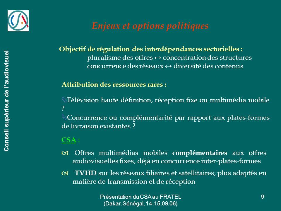 Présentation du CSA au FRATEL (Dakar, Sénégal, 14-15.09.06) 9 Enjeux et options politiques Conseil supérieur de laudiovisuel Attribution des ressource
