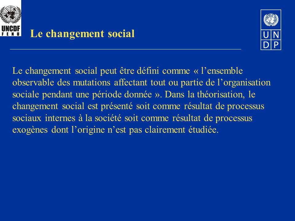 Le changement social peut être défini comme « lensemble observable des mutations affectant tout ou partie de lorganisation sociale pendant une période donnée ».