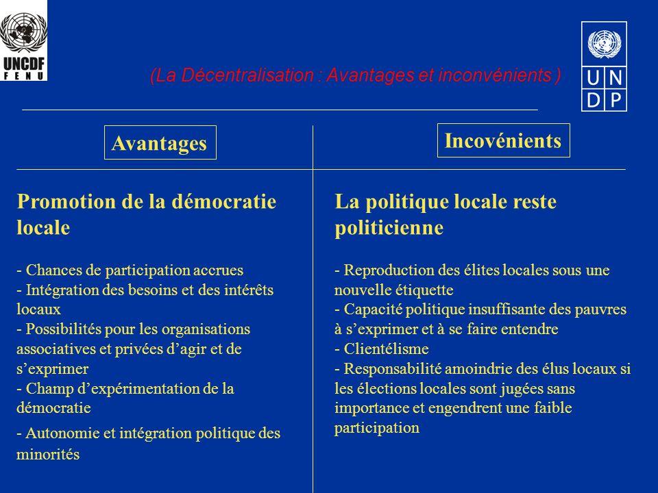 Avantages Incovénients (La Décentralisation : Avantages et inconvénients ) Promotion de la démocratie locale - Chances de participation accrues - Inté