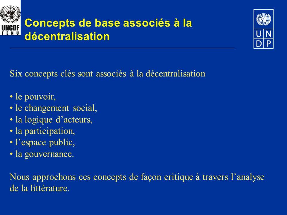 Concepts de base associés à la décentralisation Six concepts clés sont associés à la décentralisation le pouvoir, le changement social, la logique dac