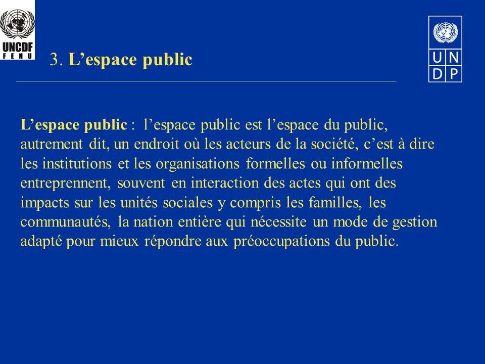 Lespace public : lespace public est lespace du public, autrement dit, un endroit où les acteurs de la société, cest à dire les institutions et les org