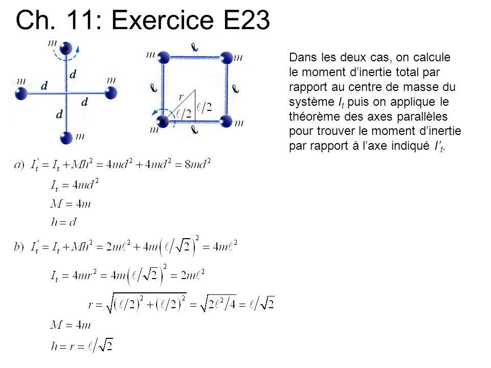Ch. 11: Exercice E23 Dans les deux cas, on calcule le moment dinertie total par rapport au centre de masse du système I t puis on applique le théorème