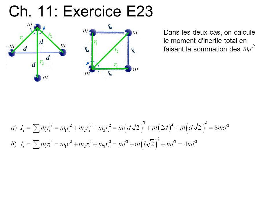 Ch. 11: Exercice E23 Dans les deux cas, on calcule le moment dinertie total en faisant la sommation des