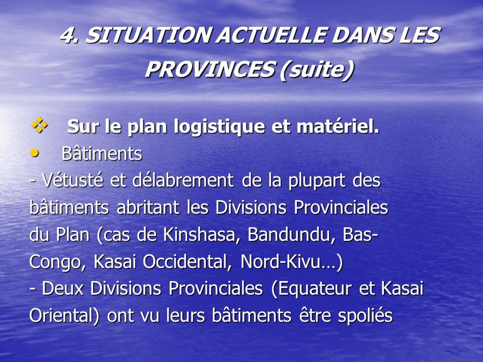 4. SITUATION ACTUELLE DANS LES PROVINCES (suite) Sur le plan logistique et matériel. Sur le plan logistique et matériel. Bâtiments Bâtiments - Vétusté
