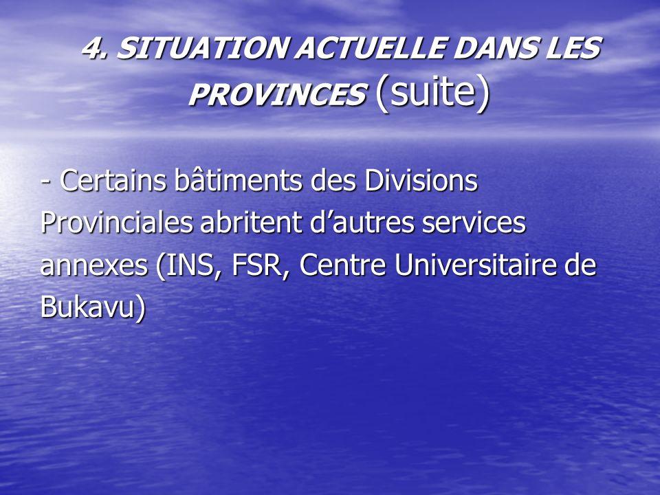 4. SITUATION ACTUELLE DANS LES PROVINCES (suite) - Certains bâtiments des Divisions Provinciales abritent dautres services annexes (INS, FSR, Centre U