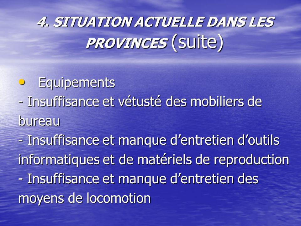 4. SITUATION ACTUELLE DANS LES PROVINCES (suite) Equipements Equipements - Insuffisance et vétusté des mobiliers de bureau - Insuffisance et manque de