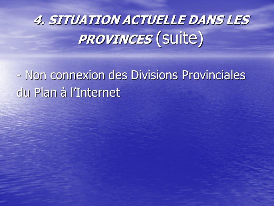 4. SITUATION ACTUELLE DANS LES PROVINCES (suite) - Non connexion des Divisions Provinciales du Plan à lInternet