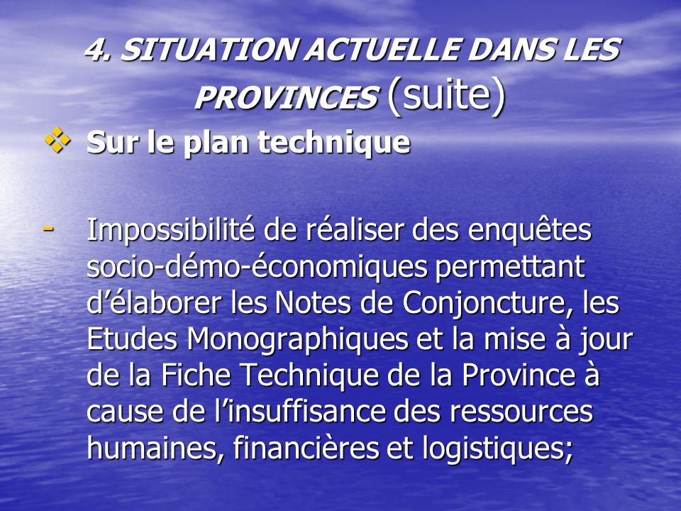 4. SITUATION ACTUELLE DANS LES PROVINCES (suite) Sur le plan technique Sur le plan technique - Impossibilité de réaliser des enquêtes socio-démo-écono