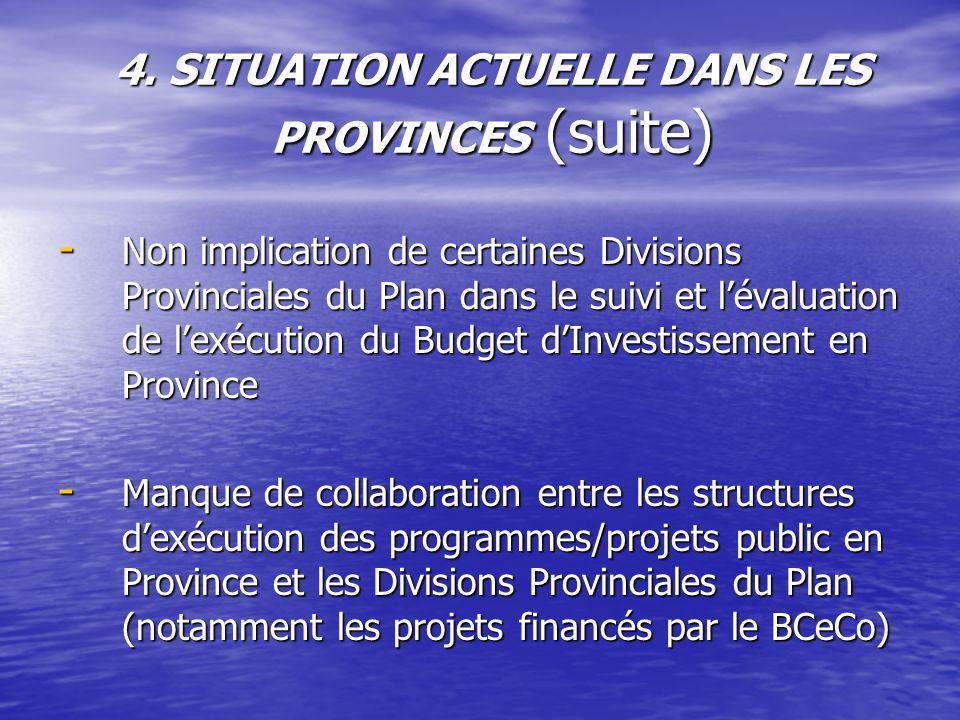 4. SITUATION ACTUELLE DANS LES PROVINCES (suite) - Non implication de certaines Divisions Provinciales du Plan dans le suivi et lévaluation de lexécut