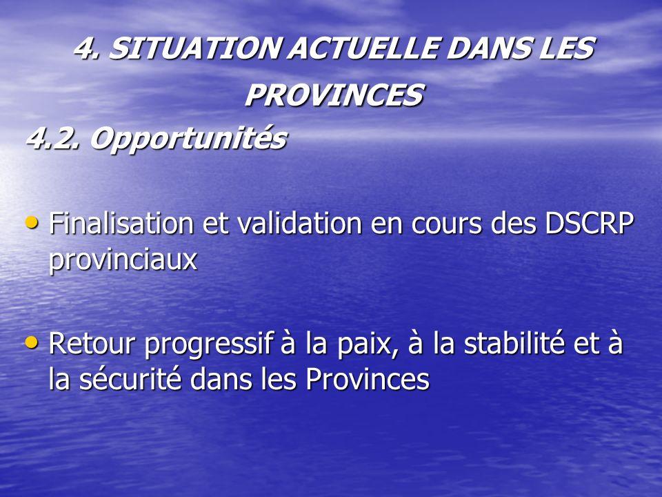 4. SITUATION ACTUELLE DANS LES PROVINCES 4.2. Opportunités Finalisation et validation en cours des DSCRP provinciaux Finalisation et validation en cou